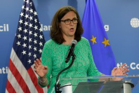 European Trade Commissioner Cecilia Malmstrom speaks at the Atlantic Council in Washington on June 29, 2016. (Yuri Gripas/AFP/Getty Images)