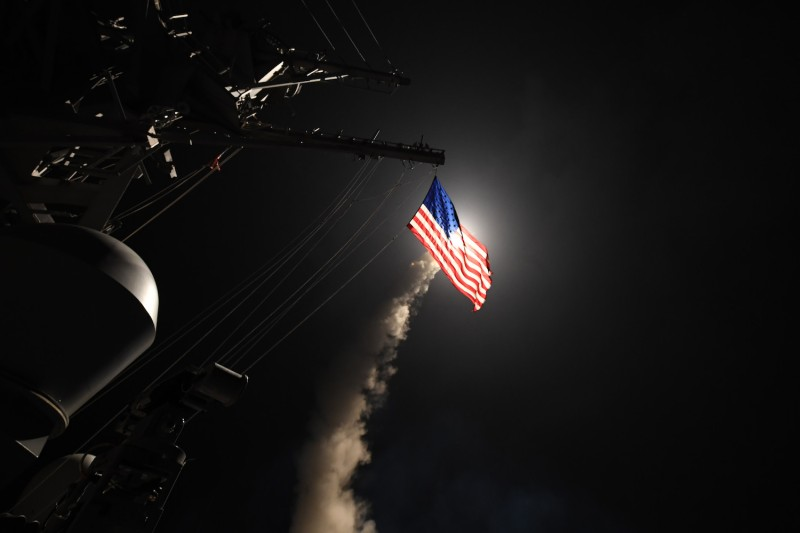 A Tomahawk missile launched from the destroyer USS Porter heading toward Syria on April 7, 2017.  (Ford Williams/U.S. Navy via Getty Images)
