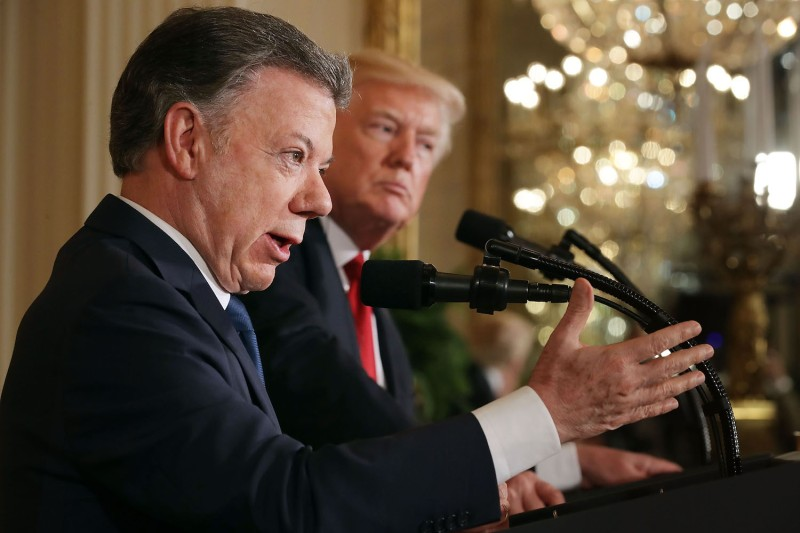 Colombian President Juan Manuel Santos, left, and U.S. President Donald Trump hold a joint news conference at the White House on May 18, 2017. (Chip Somodevilla/Getty Images)