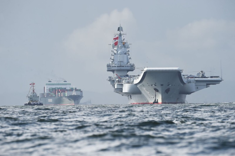 China's sole aircraft carrier, the Liaoning, arrives in Hong Kong waters on July 7, 2017. (Anthony Wallace/AFP/Getty Images)