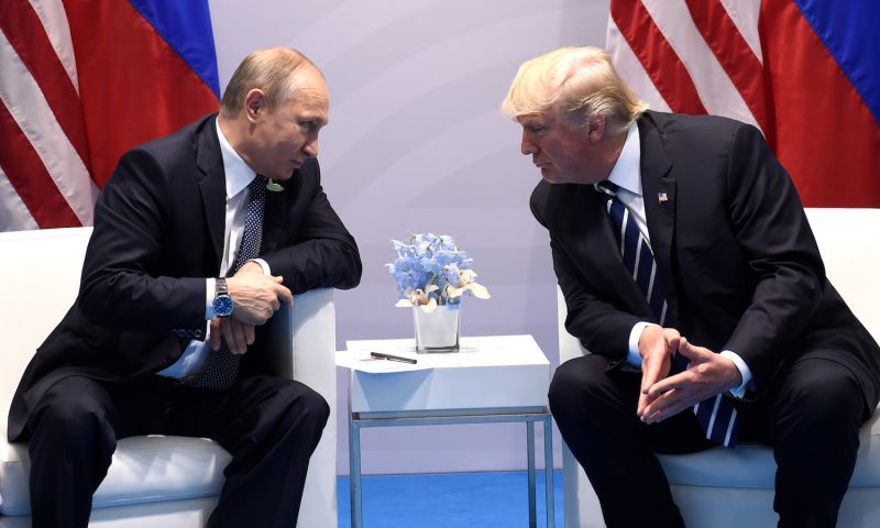 U.S. President Donald Trump and Russian President Vladimir Putin on the sidelines of the G-20 Summit in Hamburg, Germany, on July 7, 2017. (Saul Loeb/AFP/Getty Images)