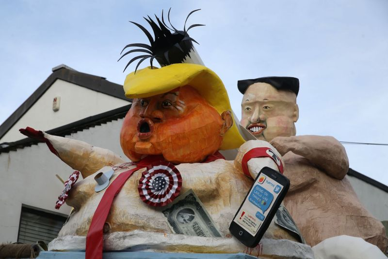 Effigies of US President Donald Trump and North Korean leader Kim Jong-Un will be paraded through the streets of Lewes in Sussex, southern England, on November 4, 2017, during the traditional Bonfire Night celebrations. DANIEL LEAL-OLIVAS/AFP/Getty Images