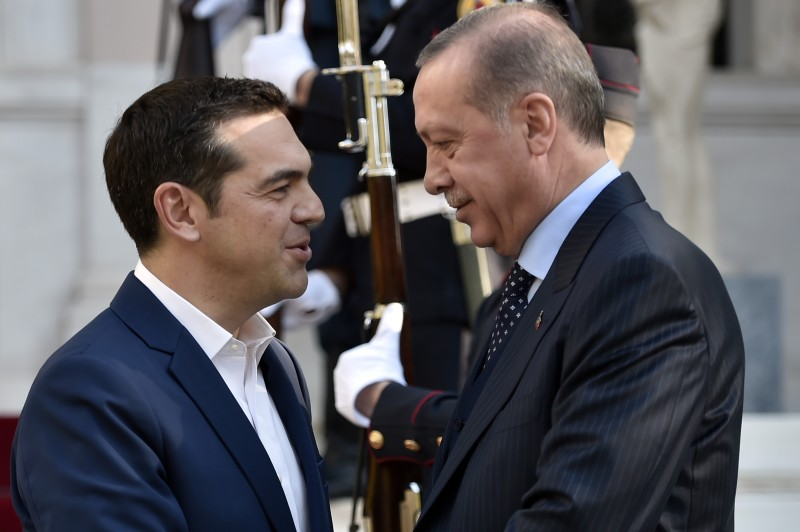 Greek Prime minister Alexis Tsipras and Turkish President Recep Tayyip Erdogan in Athens, on Dec. 7, 2017. (LOUISA GOULIAMAKI/AFP/Getty Images)