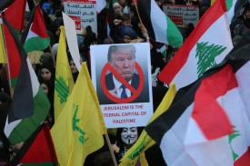 Hezbollah supporters rally in Beirut, Lebanon, on Dec. 11, 2017. (AFP/Getty Images)
