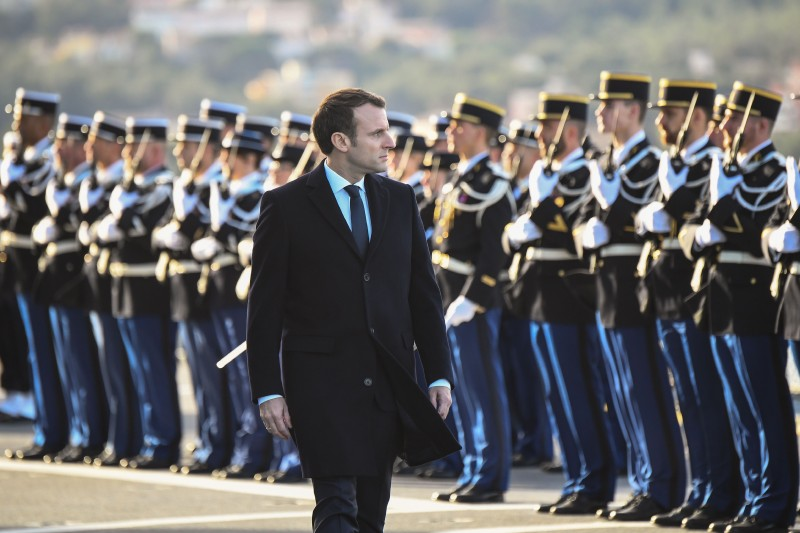 French President Emmanuel Macron reviews French Navy personnel in Toulon on Jan. 19. (Anne-Christine Poujoulat/AFP/Getty Images)