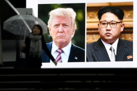 A huge screen in Tokyo flahes news on March 8, 2018 that President Donald Trump and North Korean leader Kim Jong agreed to meet for talks. (TOSHIFUMI KITAMURA/AFP/Getty Images)