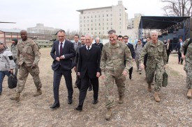 U.S. Defense Secretary Jim Mattis walks with Gen. John Nicholson at the Resolute Support Mission headquarters on an unannounced visit to Kabul on March 13, 2018. THOMAS WATKINS/AFP/Getty Images