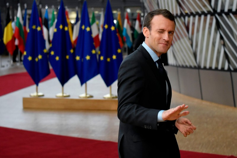 Emmanuel Macron arrives on the first day of a summit of European Union (EU) leaders at the EU headquarters in Brussels, on March 22, 2018. (JOHN THYS/AFP/Getty Images)