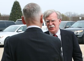 Secretary of Defense Jim Mattis greets incoming National Security Advisor John Bolton at the Pentagon on March 29. (Mark Wilson/Getty Images)