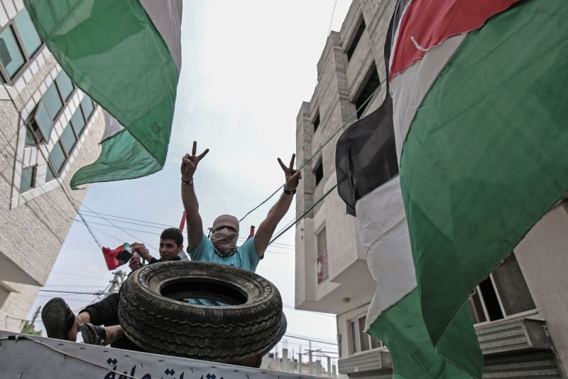 Palestinians in Gaza on April 5, 2018. (SAID KHATIB/AFP/Getty Images)