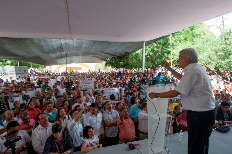 Mexican presidential candidate Andrés Manuel López Obrador delivers a speech at a campaign rally in Rio Bravo, Tamaulipas, Mexico, on April 6. (Julio Cesar Ahuilar/AFP/Getty Images)