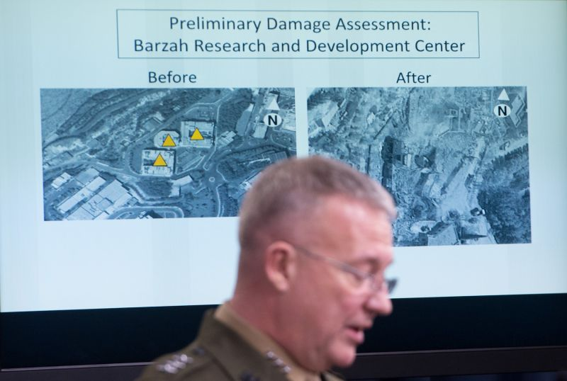 Lt. Gen. Kenneth McKenzie Jr, the director of the Joint Chiefs of Staff, briefs the press on the strikes against Syria at the Pentagon in Washington, D.C., on April 14. 2018.  SAUL LOEB/AFP/Getty Images