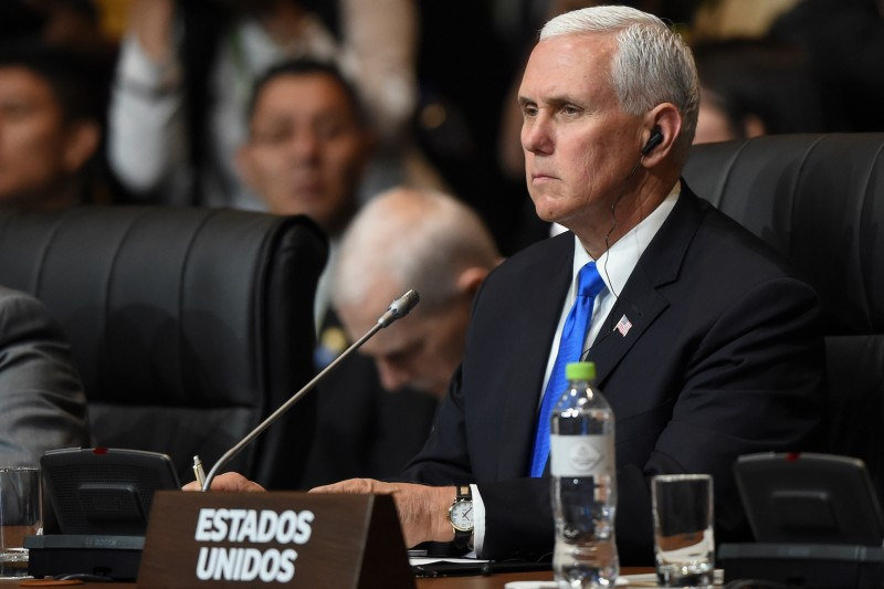 U.S. Vice President Mike Pence attends the plenary session of the Summit of the America in Lima, Peru, on April 14. (Luka Gonzales/AFP/Getty Images)