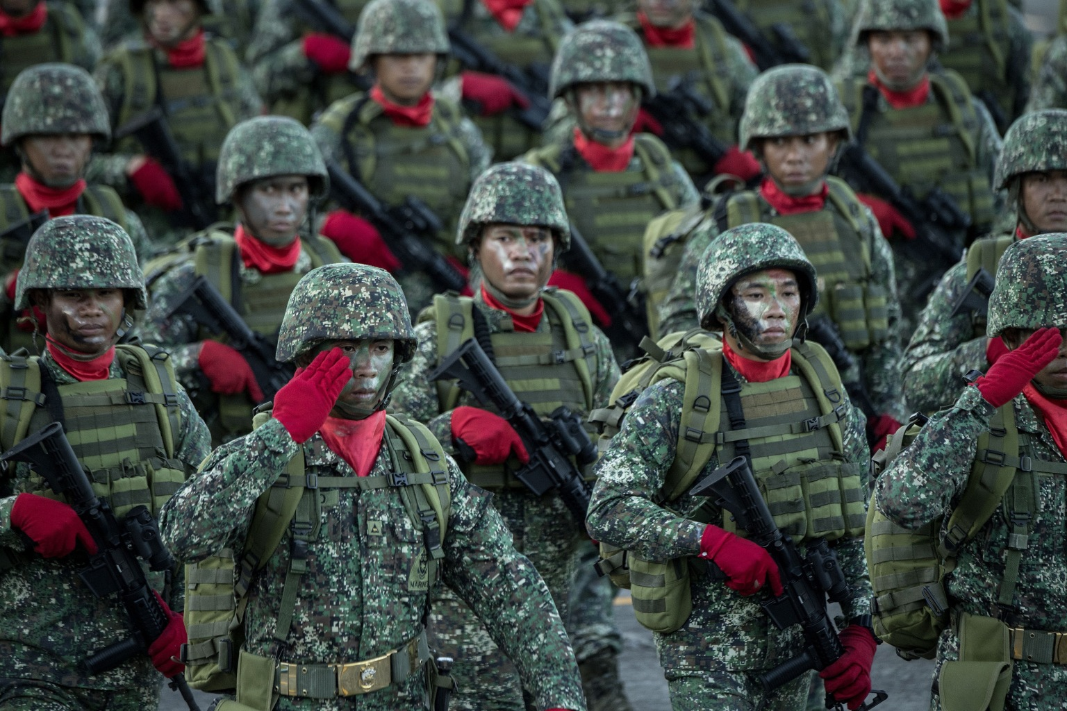 Philippine soldiers march in formation during a change-of-command ceremony in Manila's Camp Aguinaldo on April 18. NOEL CELIS/AFP/Getty Images