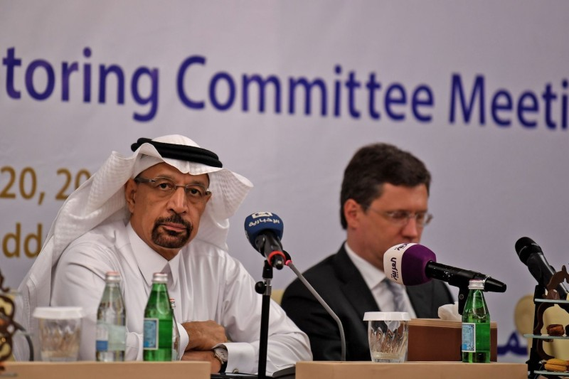 Saudi Energy Minister Khalid al-Falih, left, and Russian Energy Minister Alexander Novak attend a meeting between OPEC and non-OPEC members in Jeddah, Saudi Arabia, on April 20. (Amer Hilabi/AFP/Getty Images)