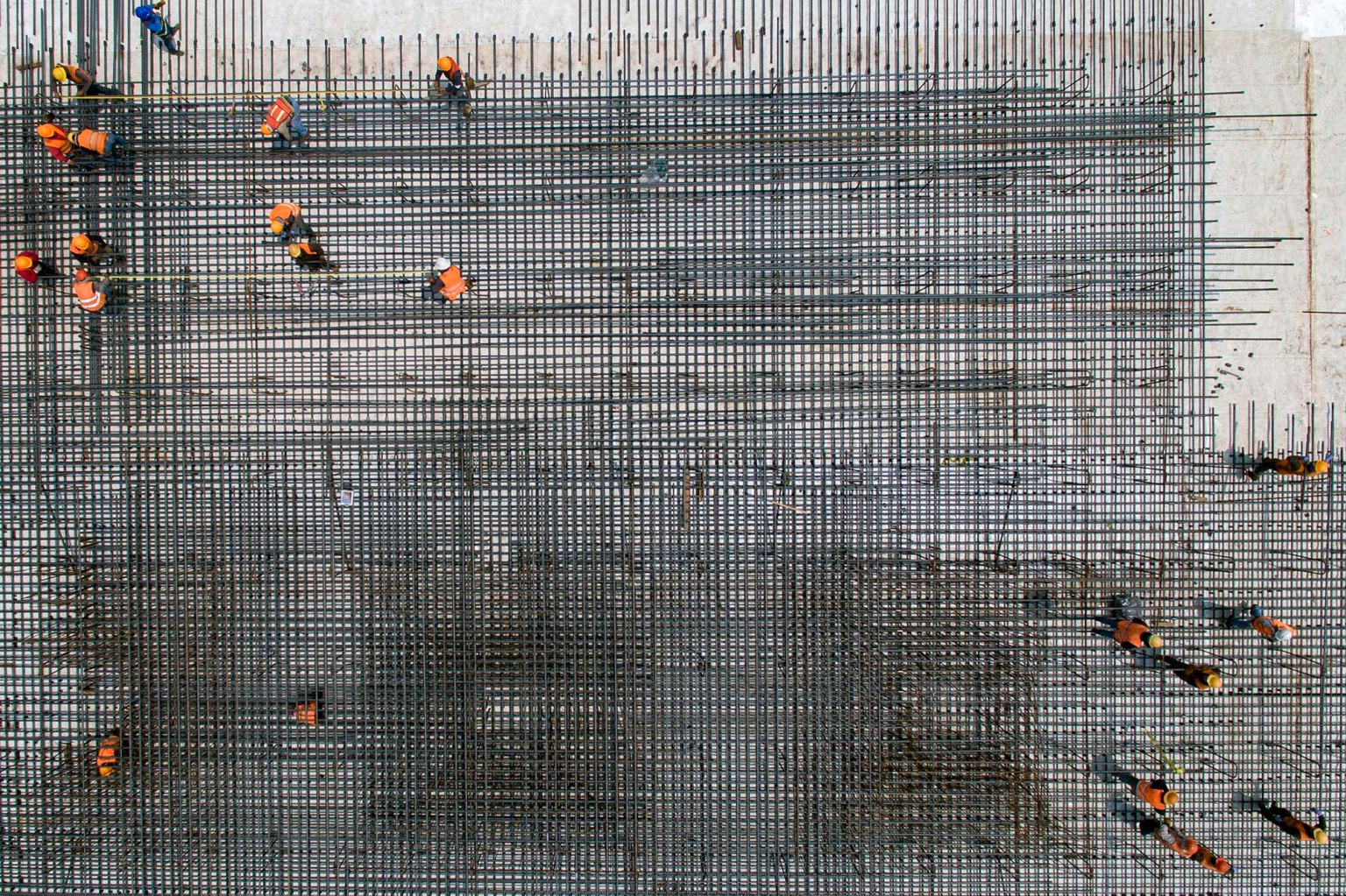 Construction workers are seen from above as they work on Mexico City's new airport in Texcoco on April 26. PEDRO PARDO/AFP/Getty Images
