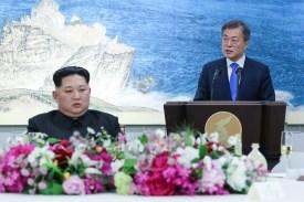 South Korean President Moon Jae-in and North Korean leader Kim Jong Un in Panmunjom, South Korea, on April 27. (Korea Summit Press Pool/AFP/Getty Images)