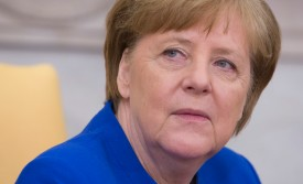 German Chancellor Angela Merkel attends a press conference with U.S. President Donald Trump in the Oval Office of the White House on April 27, 2018.  (Chris Kleponis-Pool/Getty Images)