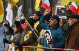 MEK supporters demonstrate outside the Iranian embassy in Berlin, Germany on Dec. 28, 2009.  (Sean Gallup/Getty Images)