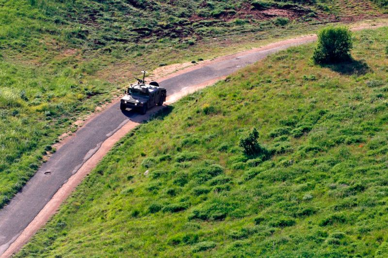 A picture taken on April 14, 2018 shows an Israeli military vehicle deployed in the Golan Heights near the border with Syria.