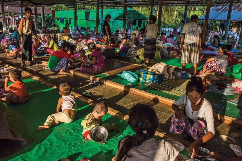 Internally displaced people take shelter at the Tanai Kachin Baptist Church in Myanmar's northern Kachin state in June 2017. (Hkun Lat)
