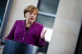German Chancellor Angela Merkel speaks to visiting girls during the annual Girls' Day at the Chancellery on April 25, 2018 in Berlin, Germany.  (Carsten Koall/Getty Images)