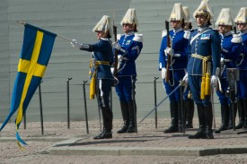Swedish guards participate in birthday celebrations for the king at the royal palace in Stockholm on April 30, 2015. (Ivan Da Silva/Getty Images)