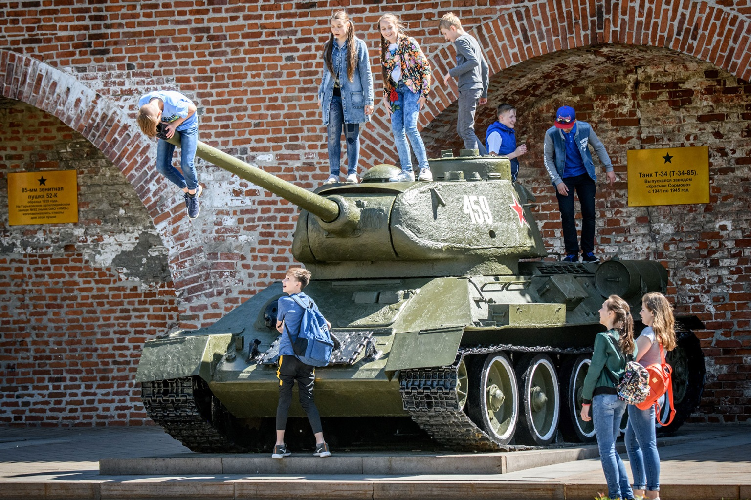 Children play atop a Soviet T-34 tank at a military museum in Nizhny Novgorod, Russia, on May 21. MLADEN ANTONOV/AFP/Getty Images