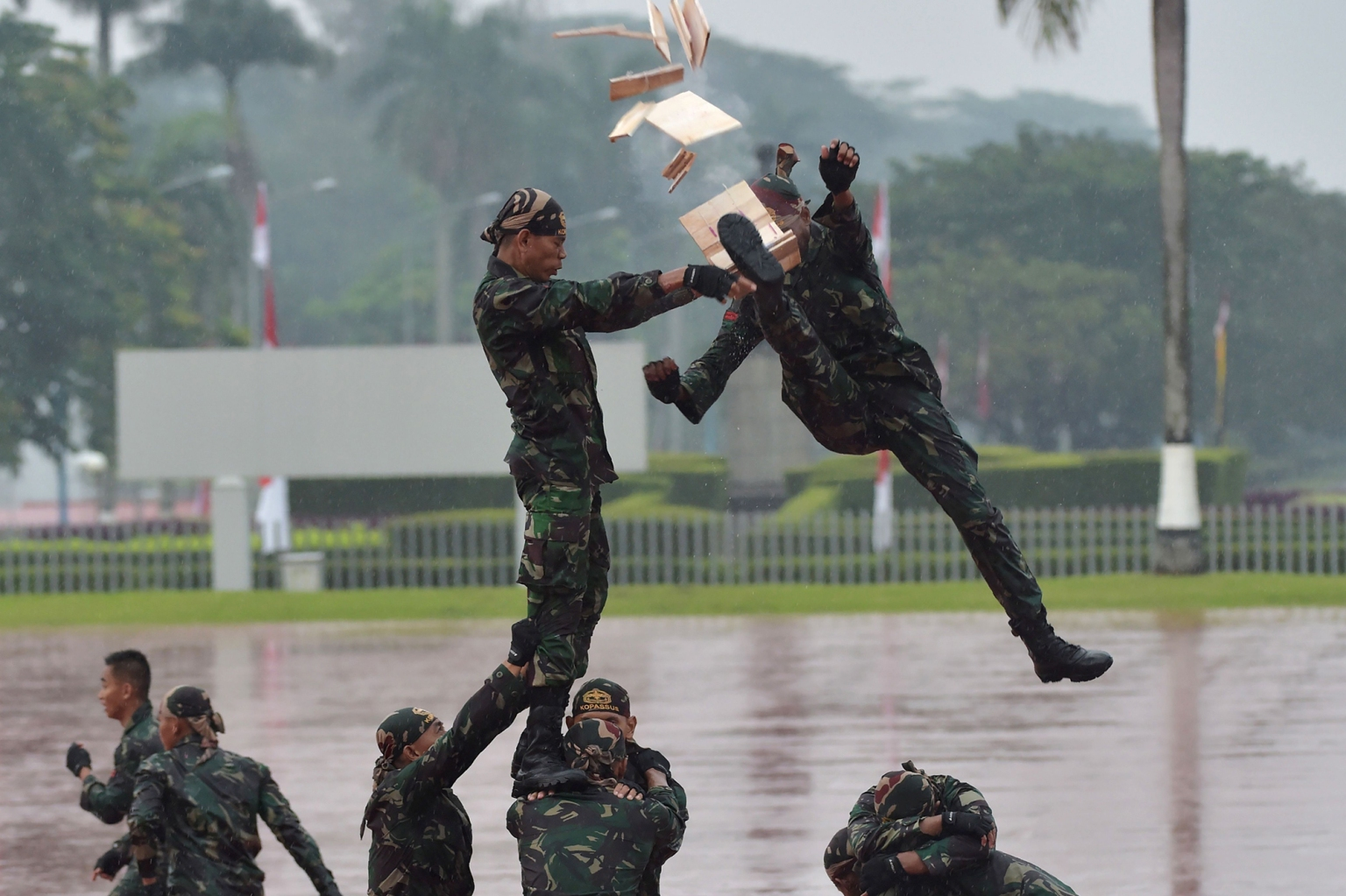 Indonesian soldiers show off their skills during a visit by Indonesian President Joko Widodo and Sultan of Brunei Hassanal Bolkiah at the Indonesian military headquarters in Jakarta on May 3. ADEK BERRY/AFP/Getty Images