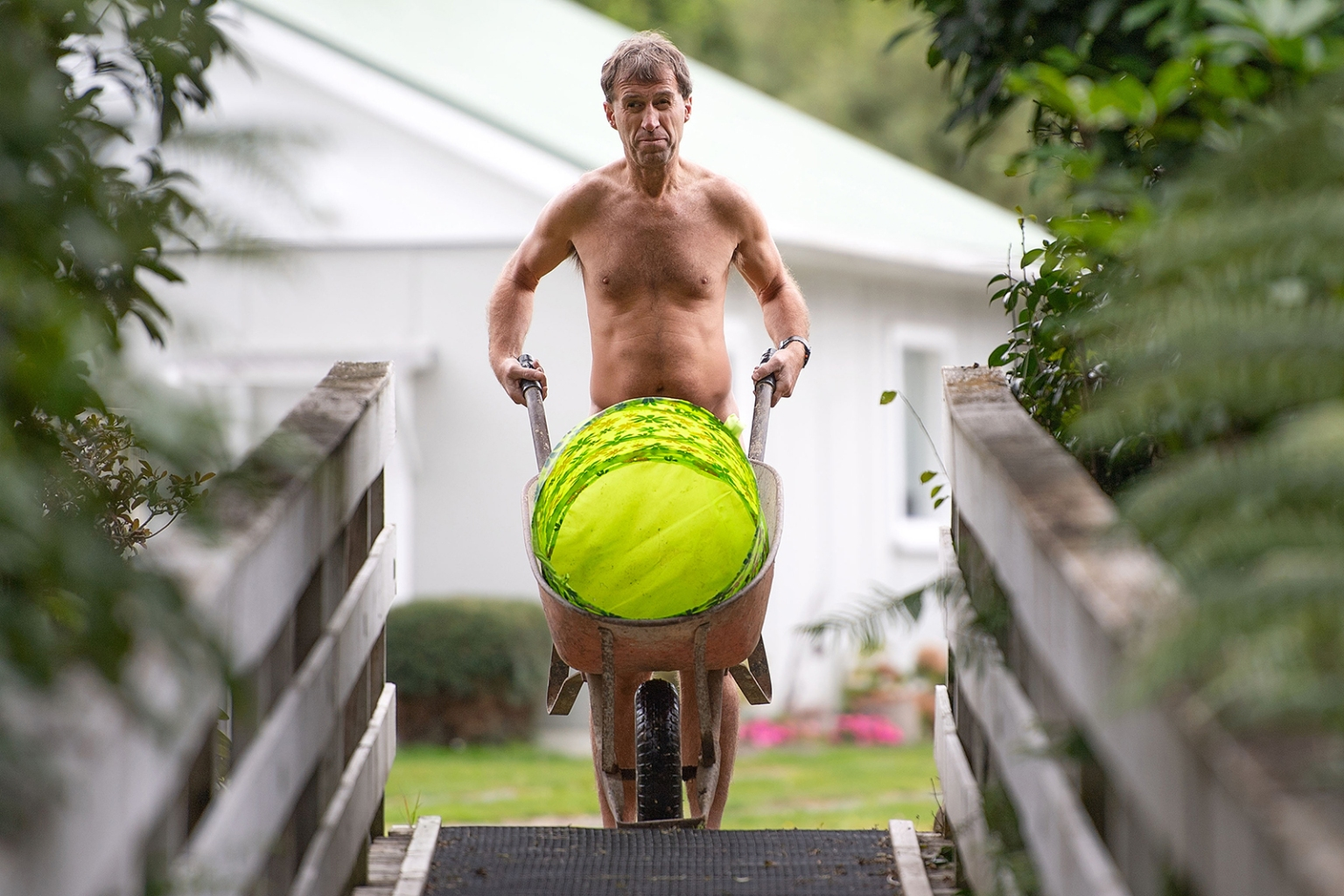 Brent Anderson takes part in World Naked Gardening Day at the Wellington Naturist Club in Upper Hutt, New Zealand, on May 5. A handful of nude participants shook off the chilly weather to take part in the event, which has been held annually around the world since 2005. MARTY MELVILLE/AFP/Getty Images