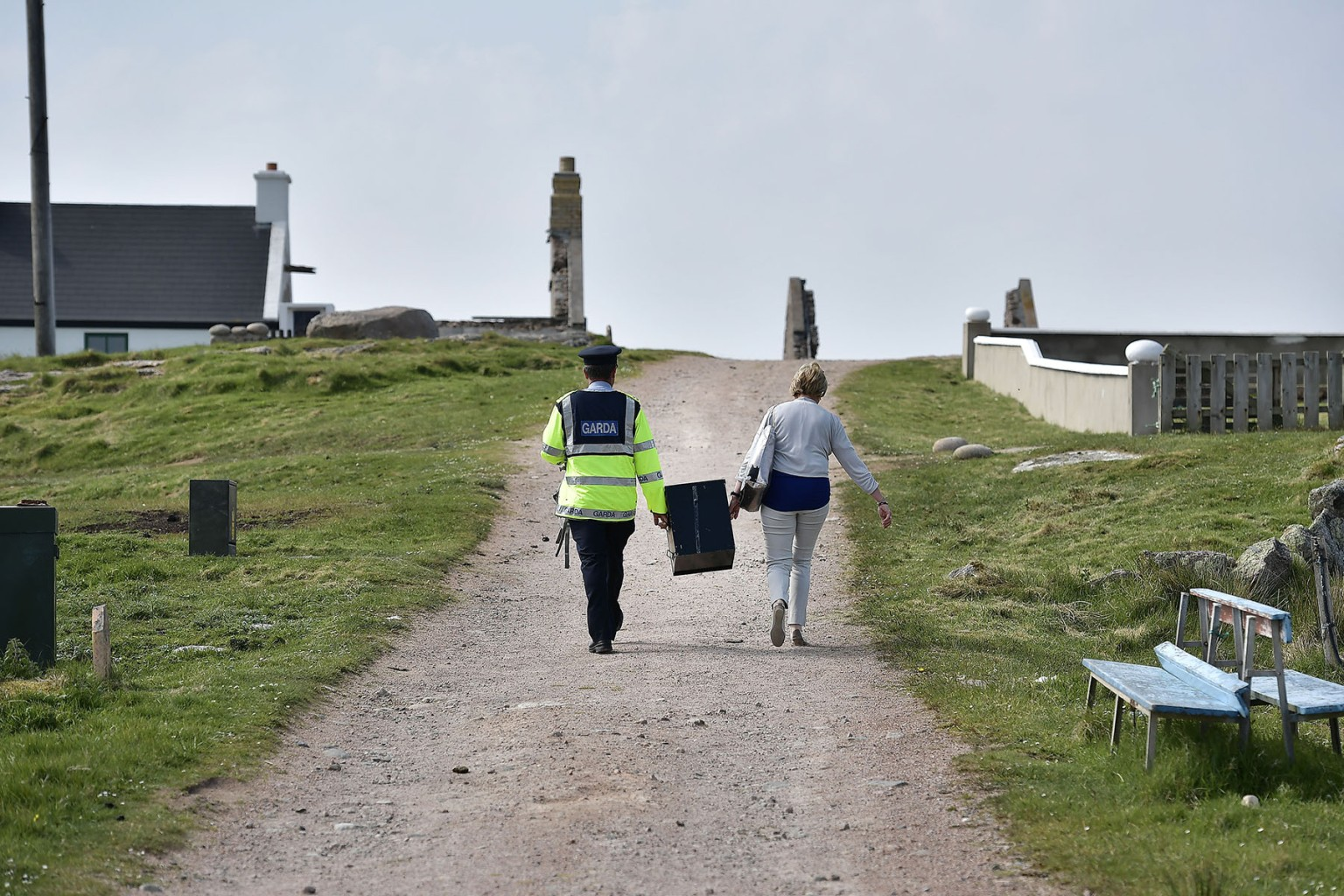 Gola Island officers carry a ballot box as they walk to the local polling station on May 24 as voting takes place a day earlier than the Irish main land. Ireland voted on a referendum to decide whether or not to abolish the 8th amendment which makes abortions illegal in the country. Charles McQuillan/Getty Images