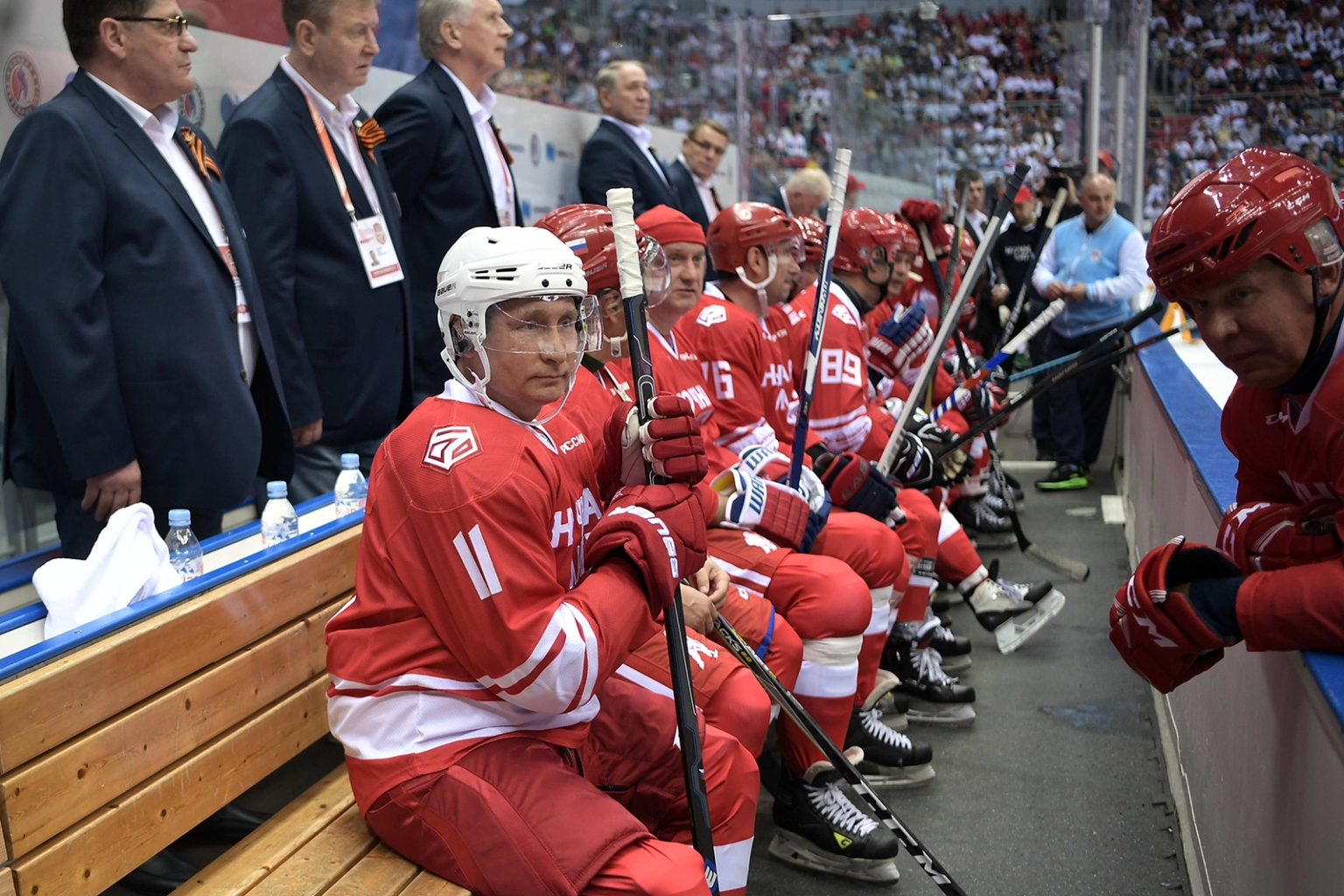Russian President Vladimir Putin takes part in a Night Ice Hockey League gala game in Sochi on May 10. ALEXEY NIKOLSKY/AFP/Getty Images