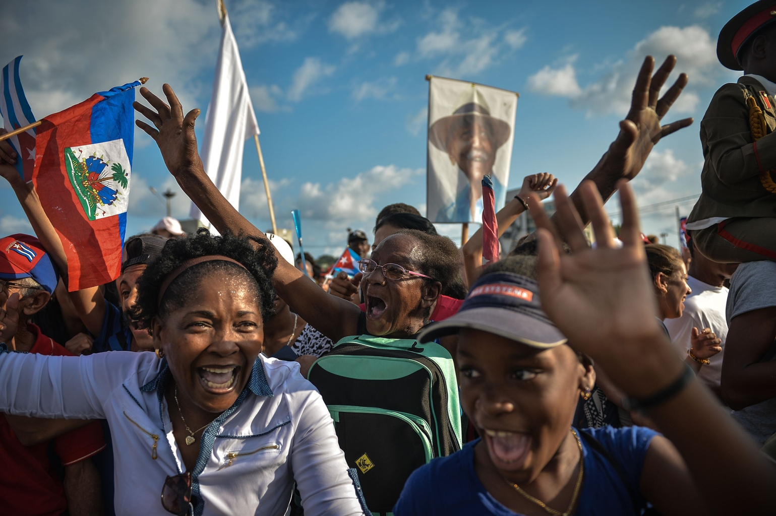 Cubans cheer during the May Day rally at Revolution Square in Havana on May 1. YAMIL LAGE/AFP/Getty Images