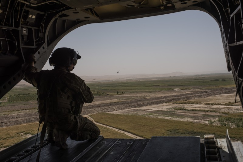 A U.S. Army helicopter flies from Camp Shorab to Camp Bost on Sept. 11, 2017 in Helmand Province, Afghanistan. (Andrew Renneisen/Getty Images)