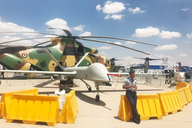 Jordan's Chinese CH-4 drone on display at this year's SOFEX arms show. (Sharon Weinberger/Foreign Policy)