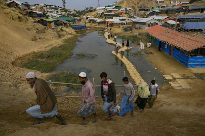 Rohingya refugees in Balukhali camp on January 13, 2018 in Cox's Bazar, Bangladesh.