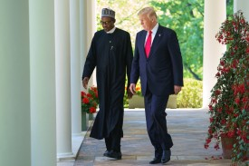 U.S. President Donald Trump and Nigerian President Muhammadu Buhari arrive for a joint press conference in the Rose Garden of the White House on April 30, 2018.