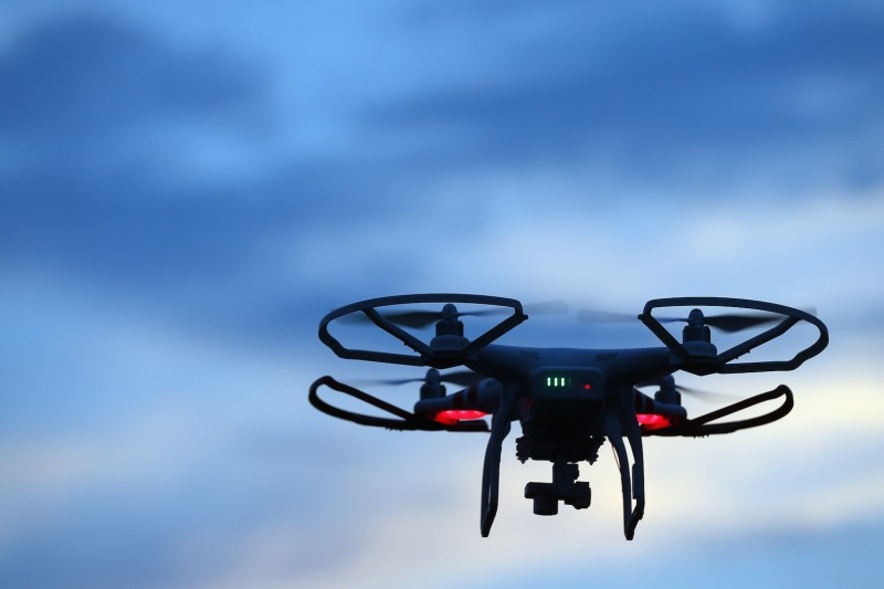 A drone is flown for recreational purposes in the sky above Old Bethpage, New York, on Aug. 30, 2015.  (Bruce Bennett/Getty Images)