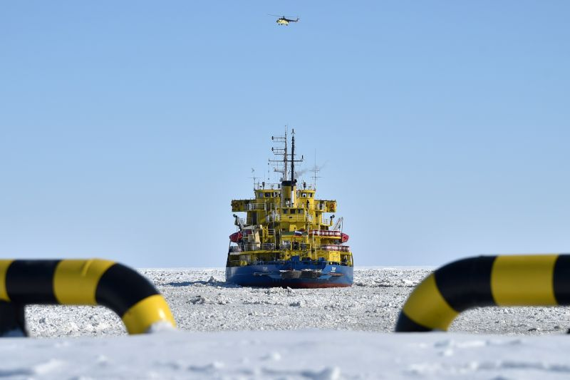 An icebreaker at the Russian port of Sabetta in the Arctic circle on April 16, 2015. (Kirill Kudryavtsev/AFP/Getty Images)