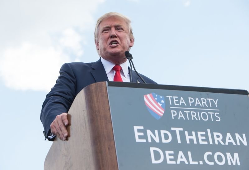 Donald Trump speaks at a rally organized by the Tea Party Patriots against the Iran nuclear deal while campaigning for president in Washington, D.C., on Sept. 9, 2015.  (Nicholas Kamm/AFP/Getty Images)