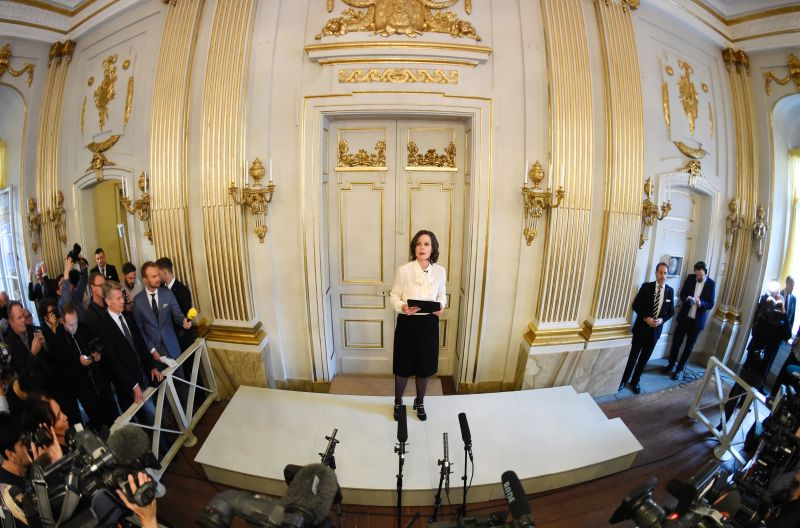 Sara Danius, Permanent Secretary of the Swedish Academy, gives a press conference to announce the laureate of the 2016 Nobel Prize in Literature at the Swedish Academy in Stockholm, Sweden, on Oct. 13, 2016. (JONATHAN NACKSTRAND/AFP/Getty Images)