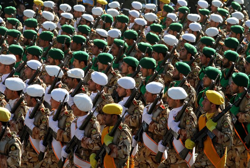 Iranian soldiers march during a parade marking the country's Army Day, on April 18, 2017, in Tehran. (ATTA KENARE/AFP/Getty Images)