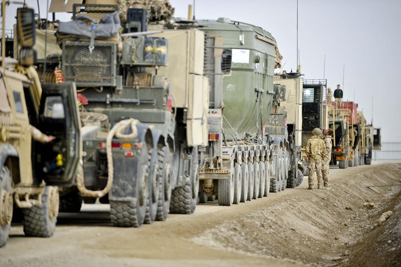 Lines of vehicles ready for a combat logistics patrol alongside American forces and Afghan National Army on Operation Herrick 11, which carried essential supplies from Camp Bastion to Helmand Province, Afghanistan, in a 100-vehicle convoy. (Ben Birchall/PA Images/Getty Images)
