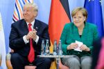 Donald Trump and German Chancellor Angela Merkel on the second day of the G20 summit on July 8, 2017 in Hamburg, Germany. (Ukas Michael - Pool/Getty Images)