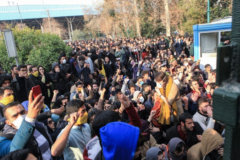 Students protest at the University of Tehran during a demonstration driven by anger over economic problems on Dec. 30, 2017. (Stringer/AFP/Getty Images)