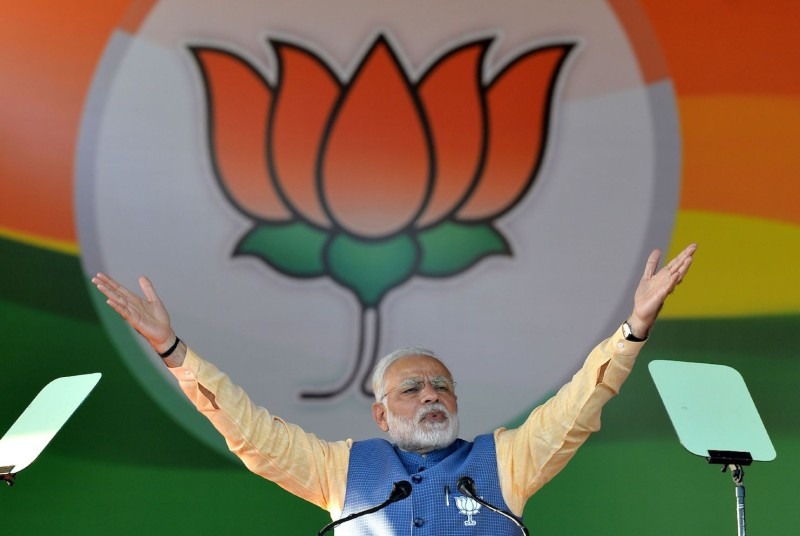 Indian Prime Minister Narendra Modi gestures while addressing a rally in Bangalore on February 4, 2018.  (MANJUNATH KIRAN/AFP/Getty Images)