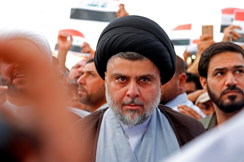Shiite cleric Moqtada al-Sadr attends the demonstration against the western bombings of Syria, which he called for, on april 15, 2018, in Najaf. (HAIDAR HAMDANI/AFP/Getty Images)