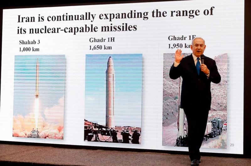 Israeli Prime Minister Benjamin Netanyahu delivers a speech on Iran's nuclear program in Tel Aviv on April 30. (Jack Guez/AFP/Getty Images)