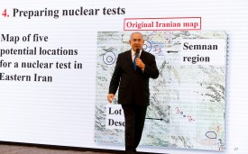 Israeli Prime Minister Benjamin Netanyahu delivers a speech on Iran's nuclear program at the defence ministry in Tel Aviv on April 30, 2018. (JACK GUEZ/AFP/Getty Images)