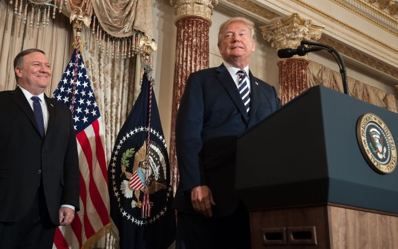 U.S. President Donald Trump attends the ceremonial swearing-in of  Secretary of State Mike Pompeo at the State Department in Washington, D.C. on May 2, 2018. (Saul Loeb/AFP/Getty Images)